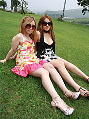 Two graceful japanese babes show off their natural boobs in a park. Two delicate Japanese babes show off their natural boobs in a park. Read more!