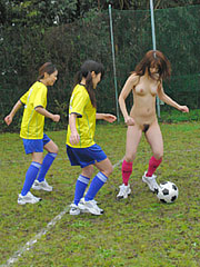 Japanese babes showing off their naked bodies and playing soccer.    Japanese babes showing off their naked bodies and playing soccer Read more!