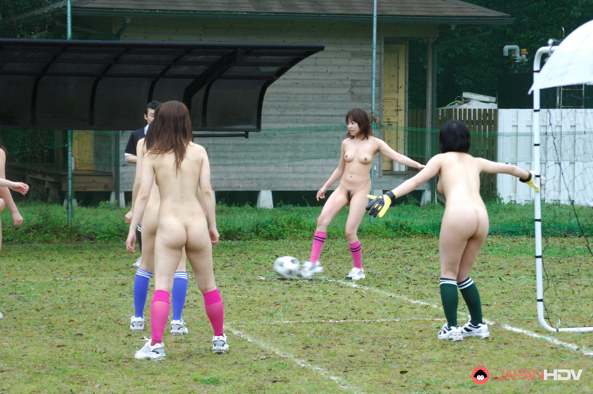 women playing soccer naked