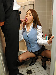 Brunette office lady china mimura gulp a voluminous dick in the toilet. Brunette office lady China Mimura sucks a great tool in the toilet Read more!