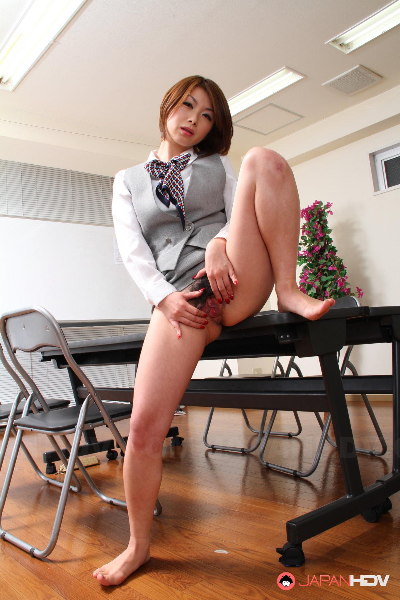 Sexy Japanese office lady Tsubaki posing | Japan HDV